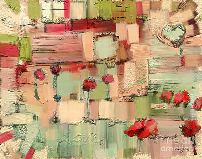 Fabric Mixed Media - Love Abstract by Carrie Joy Byrnes
