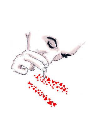 Coke Drawing - Love Addict by Ludwig Van Bacon