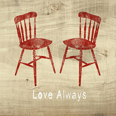 Love Always Red Chairs- Art By Linda Woods Art Print by Linda Woods