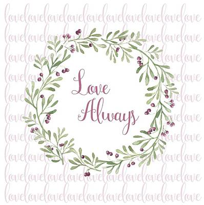 Digital Art - Love Always Wreath Pink And Green Square by Terry DeLuco