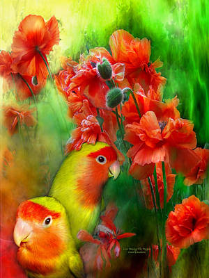 Lovebird Mixed Media - Love Among The Poppies by Carol Cavalaris