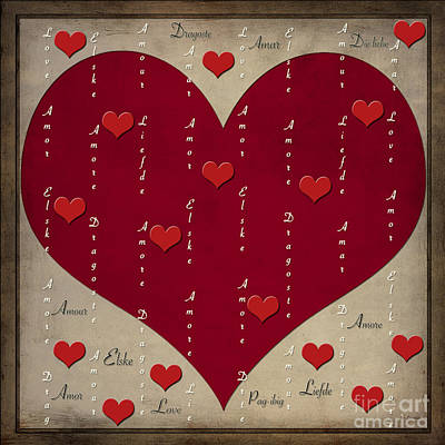Digital Art - Love - An Universal Feeling Written In 10 Languages by Claudia Ellis