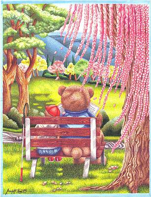 Brown Bear Drawing - Love And Care by Scarlett Royal