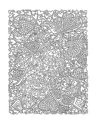 Drawing Drawing - Love And Chrysanthemum Filled Hearts Vertical by Tamara Kulish