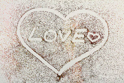 Photograph - 'love' And Heart Written In Glitter On White Background. by Michal Bednarek