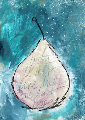 Love And Hope Pear- Art By Linda Woods Art Print by Linda Woods