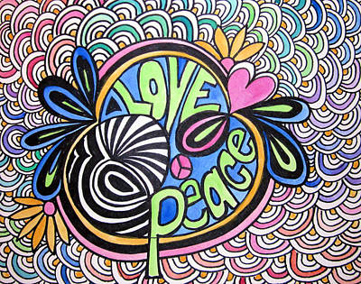 60s Drawing - Love And Peace by Jo Claire Hall