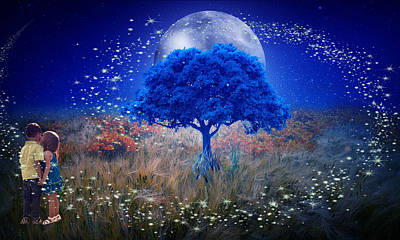 Mixed Media - Love Under The Blue Moon by Marvin Blaine