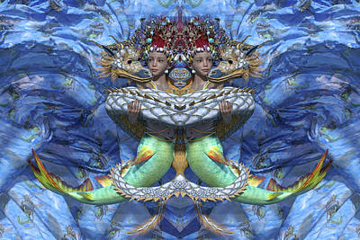 Two Fish Digital Art - Love And War Mirrored Custom by Betsy Knapp