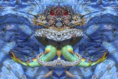 Surrealism Digital Art - Love and War Mirrored Custom by Betsy Knapp