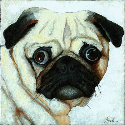 Pug Face Painting - Love At First Sight - Pug by Linda Apple