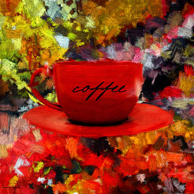 Red Art Digital Art - Love At First Sip by Lourry Legarde