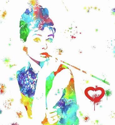 Actors Mixed Media - Love Audrey Hepburn by Dan Sproul