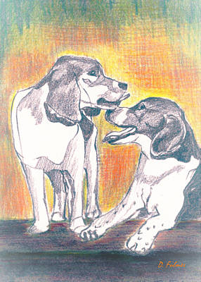 Drawing - Love Beagles by Denise F Fulmer