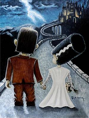 Bride Of Frankenstein Painting - Love Begins With A Spark by Al  Molina