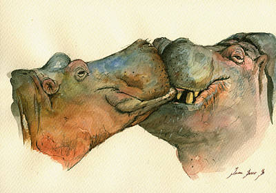 Hippopotamus Painting - Love Between Hippos by Juan  Bosco