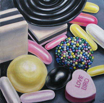 Licorice Painting - Love Bird by Kelly Heinze