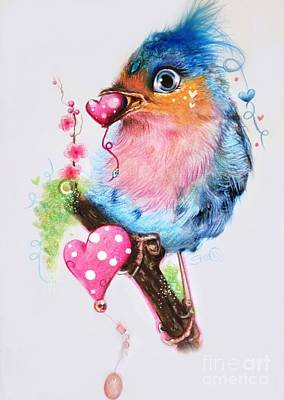 Neon Mixed Media - Love Bird by Sheena Pike