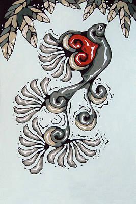 Linoprint Painting - Love Bird by Susan Lishman