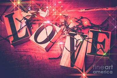 Festive Photograph - Love Birds And Wooden Sentiments by Jorgo Photography - Wall Art Gallery