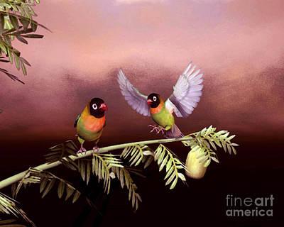 Animals Digital Art - Love Birds By John Junek  by John Junek