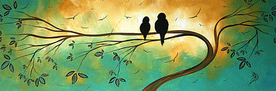 Abstract Landscape Painting - Love Birds By Madart by Megan Duncanson