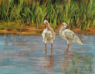 Sanibel Island Painting - Love Birds by E E Scanlon