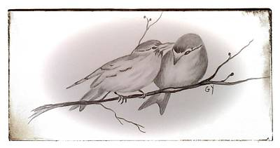 Chickadee Drawing - Love Birds by Ginny Youngblood