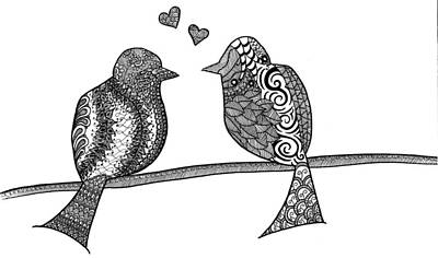 Bird On A Wire Drawing - Love Birds by Heidi Forever