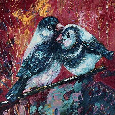 Painting - Love Birds   by OLena Art Brand
