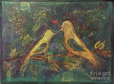 Mixed Media - Love Birds by Sandra Wallace