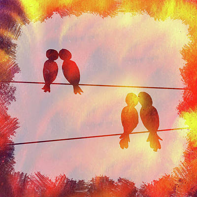 Painting - Love Birds Sunset Watercolor Silhouette by Irina Sztukowski