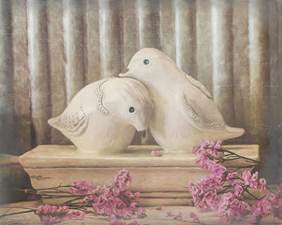 Lovebird Mixed Media - Love Birds by Teresa Wilson