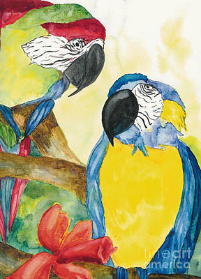 Art Print featuring the painting Love Birds by Vicki  Housel
