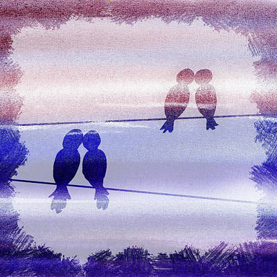 Painting - Love Birds Watercolor Silhouette  by Irina Sztukowski