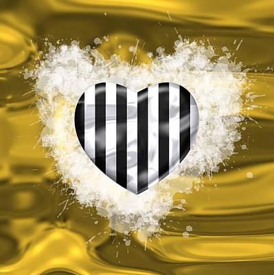 Sport Digital Art - Love Black And White Stripes Over Gold by Alberto RuiZ