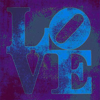 Love Sign Mixed Media - Love Blue by Brandi Fitzgerald