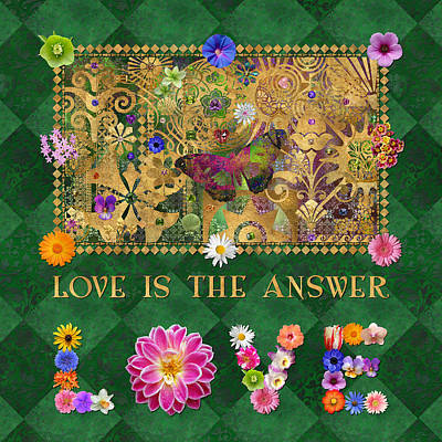Patchwork Quilts Digital Art - Love Butterfly Green by Susan Ragsdale