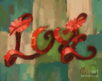 Blocked Color Painting - Love by Carrie Joy Byrnes