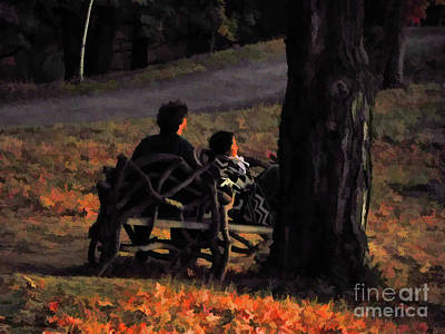 Painting - Love Couple On Bench by Lanjee Chee