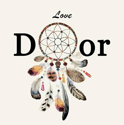 Art Print featuring the painting Love Dior Watercolour Dreamcatcher by Georgeta Blanaru