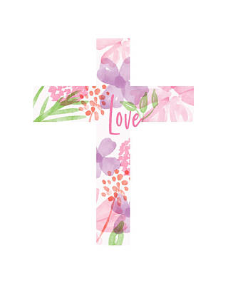 Mixed Media - Love Floral Cross- Art By Linda Woods by Linda Woods