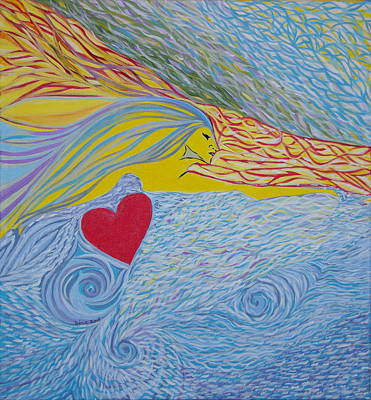 Art Print featuring the painting Love For Ever by Sima Amid Wewetzer