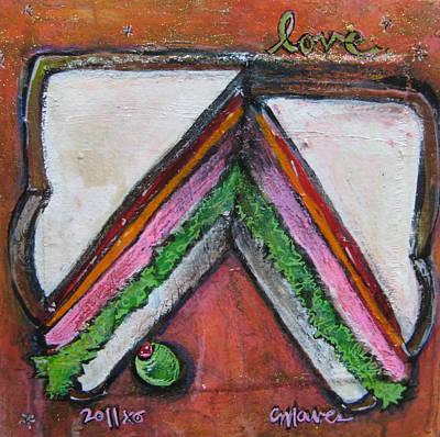 Sandwich Painting - Love For Ham Sandwich by Laurie Maves ART