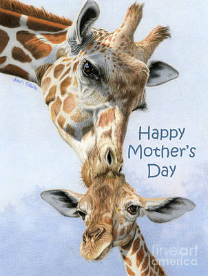 Mother And Baby Giraffe Painting - Love From Above- Happy Mother's Day Cards by Sarah Batalka