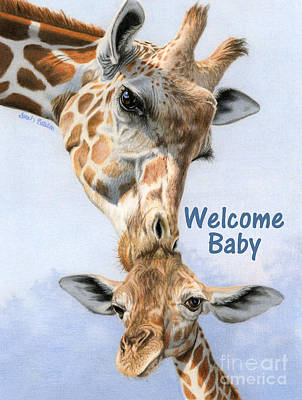 Mother And Baby Giraffe Painting - Love From Above- Welcome Baby Cards by Sarah Batalka