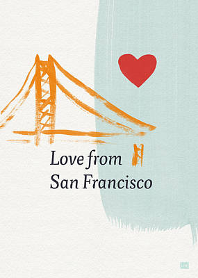Note Card Painting - Love From San Francisco- Art By Linda Woods by Linda Woods
