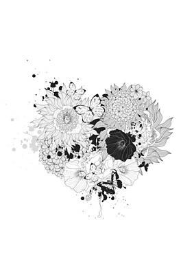 Valentines Day Digital Art - Floral Heart Love Garden by BONB Creative