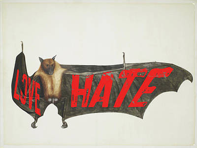 Painting - Love Hate Bat by Tony Rubino