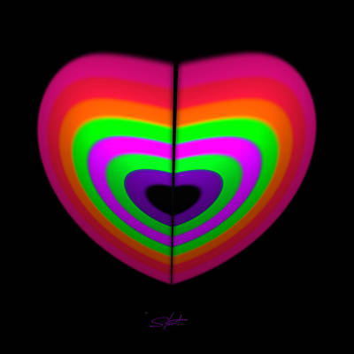 Rainbow Painting - Love Heart by Charles Stuart